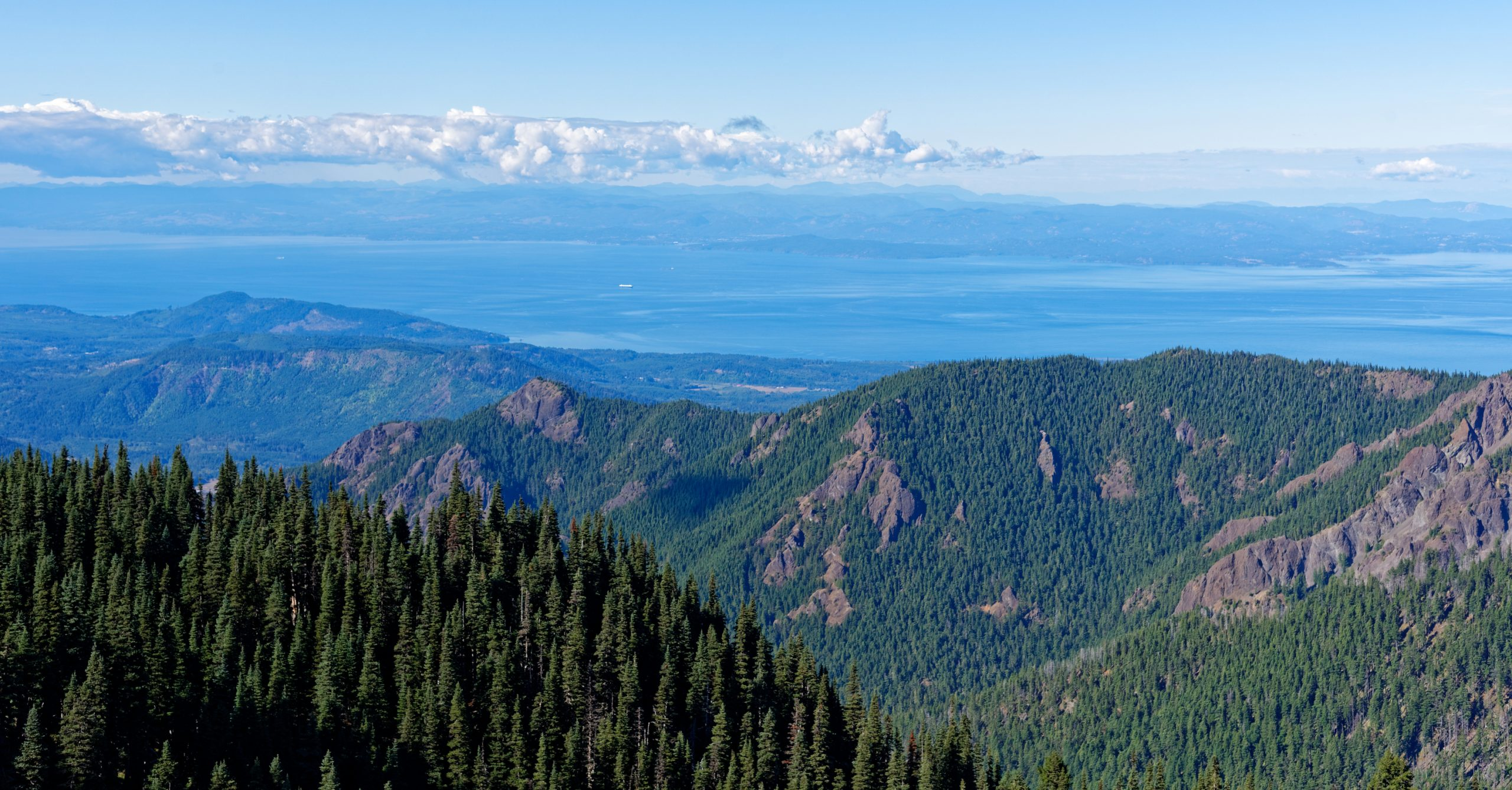 Overlooking Port Angeles WA, Victoria BC and the Strait of Juan de Fuca from Hurricane Hill, Olympic National Park